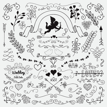 sketched arrows: Vector Black Hand Sketched Rustic Floral Doodle Swirls, Branches, Design Elements. Decorative Corners, Dividers, Arrows, Scrolls. Hand Drawing Vector Illustration. Pattern Brushes. Love, Wedding, Valentine