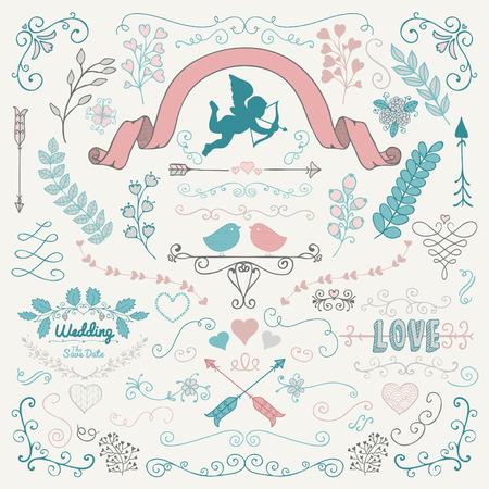 sketched arrows: Vector Colorful Hand Sketched Rustic Flourish Doodle Swirls, Branches, Design Elements. Decorative Corners, Dividers, Arrows, Scrolls. Hand Drawing Vector Illustration. Pattern Brushes. Love, Wedding, Valentine Illustration