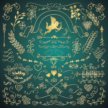 flechas: Vector de oro Mano bosquejado r�stico florales del Doodle de los remolinos, ramas, elementos de dise�o. Esquinas decorativas, divisores, Flechas, pergaminos. Ilustraci�n del vector. Cepillos patr�n. Amor, Boda, San Valent�n