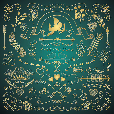 sketched arrows: Vector Golden Hand Sketched Rustic Floral Doodle Swirls, Branches, Design Elements. Decorative Corners, Dividers, Arrows, Scrolls. Vector Illustration. Pattern Brushes. Love, Wedding, Valentine