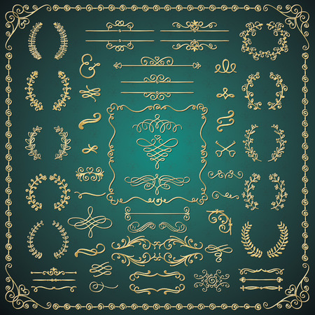 decorative frames: Golden Glossy Luxury Hand Drawn Sketched Doodle Design Elements. Decorative Artistic Flourish Frames, Borders, Brackets, Dividers, Swirls, Text Frames. Vector Illustration Illustration