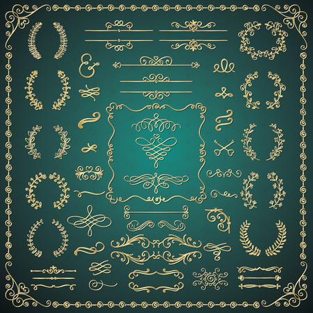 marcos decorativos: Oro brillante Mano Lujo Drawn bosquejado Doodle Elementos de diseño. Decorativo artístico Flourish marcos, bordes, anaqueles, divisores, remolinos, marcos de texto. Ilustración vectorial