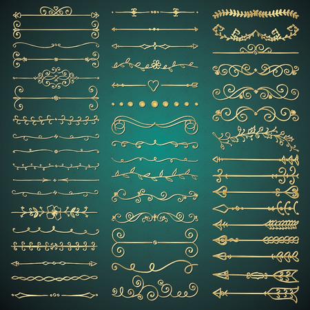 手描きの黄金の光沢のあるロイヤル デザイン要素のセットです。装飾的な繁栄の仕切り、矢印、まんじ、スクロール。ビンテージ ベクトルの図。