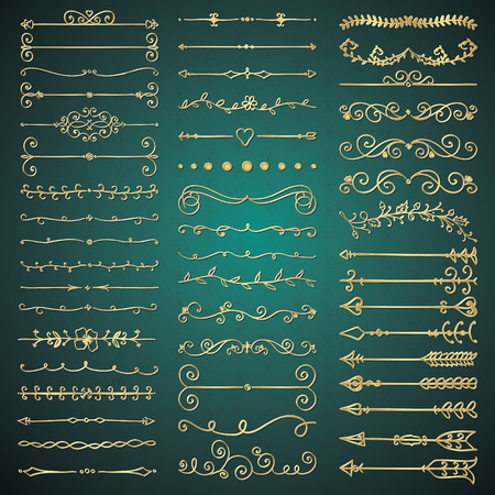 Set of Hand Drawn Golden Glossy Royal Design Elements. Decorative Flourish Dividers, Arrows, Swirls, Scrolls. Vintage Vector Illustration.