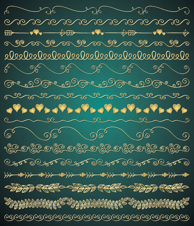 brashes: Collection of Golden Royal Luxury Hand Sketched Artistic Rustic Decorative Doodle Vintage Seamless Borders, Swirls, Branches. Design Elements. Hand Drawn Vector Illustration. Pattern Brashes