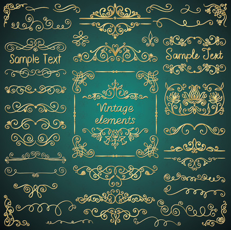 Golden Glossy Luxury Hand Drawn Sketched Doodle Design Elements. Decorative Artistic Flourish Frames, Borders, Dividers, Swirls, Text Frames. Vector Illustration