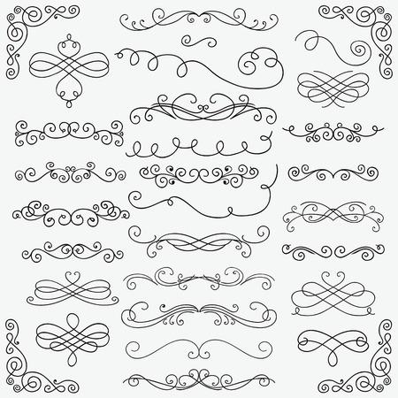 Insieme di elementi di design rustico disegnato a mano nero Doodle. Turbinii decorativi, pergamene, cornici di testo, divisori, angoli. Illustrazione vettoriale vintage. Pennelli modello Vettoriali
