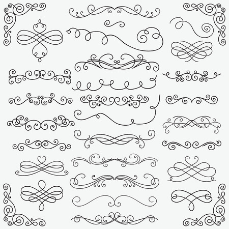 Set of Black Hand Drawn Rustic Doodle Design Elements. Decorative Swirls, Scrolls, Text Frames, Dividers, Corners. Vintage Vector Illustration. Pattern Brushes