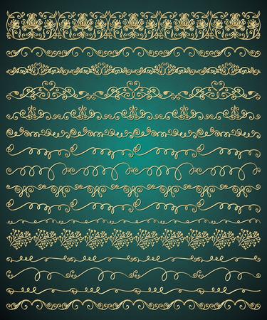 encaje: Colección de Golden Royal Mano Lujo bosquejado artístico rústico decorativo Doodle Vintage Seamless Fronteras, Remolinos, divisores, marcos de texto. Elementos de diseño. Dibujado ilustración vectorial. Brashes Pattern