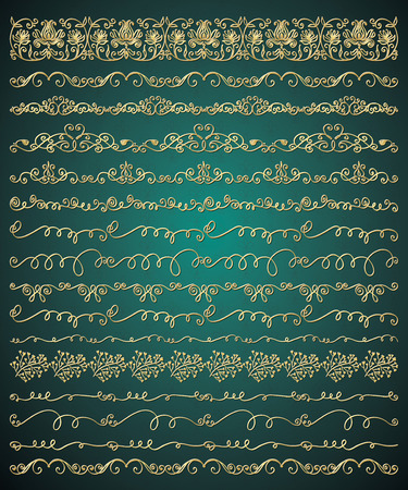 glamorous: Collection of Golden Royal Luxury Hand Sketched Artistic Rustic Decorative Doodle Vintage Seamless Borders, Swirls, Dividers, Text Frames. Design Elements. Drawn Vector Illustration. Pattern Brashes Illustration