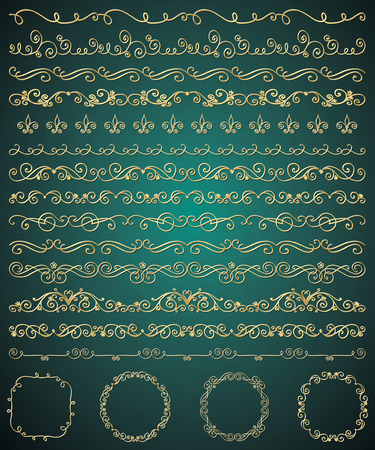 brashes: Collection of Golden Royal Luxury Hand Sketched Artistic Rustic Decorative Doodle Vintage Seamless Borders, Swirls, Dividers, Text Frames. Design Elements. Drawn Vector Illustration. Pattern Brashes Illustration