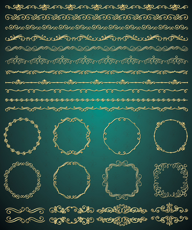 metal background: Collection of Golden Royal Luxury Hand Sketched Artistic Rustic Decorative Doodle Vintage Seamless Borders, Swirls, Dividers, Text Frames. Design Elements. Drawn Vector Illustration. Pattern Brashes Illustration
