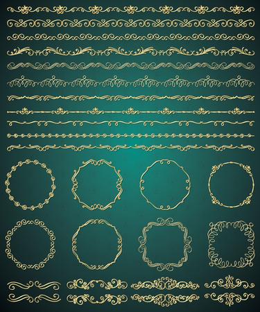 brashes: Collection of Golden Royal Luxury Hand Sketched Artistic Rustic Decorative Doodle Vintage Seamless Borders, Swirls, Dividers, Text Frames. Design Elements. Drawn Vector Illustration. Pattern Brashes Illustration