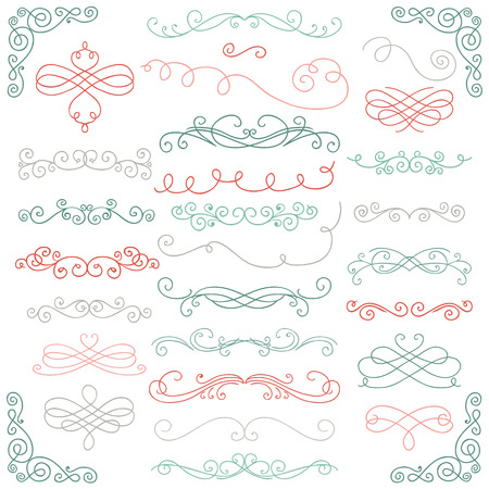 curly: Set of Colorful Hand Drawn Rustic Doodle Design Elements.