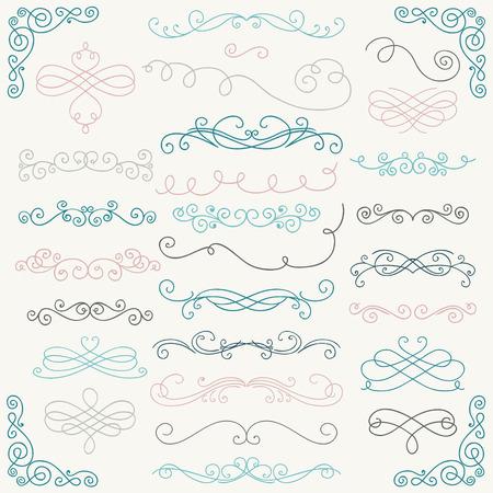 カラフルな手描き落書きは素朴なデザイン要素のセットです。