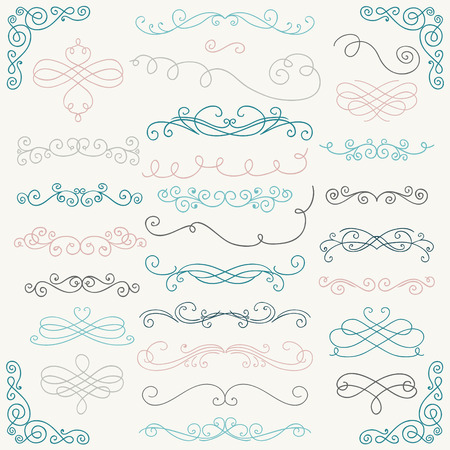 ornamental scroll: Set of Colorful Hand Drawn Rustic Doodle Design Elements.