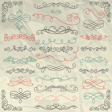swirl border: Hand Drawn Colorful Doodle Design Elements on Crumpled Paper Texture