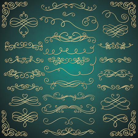 Set of Hand Drawn Golden Luxury Royal Design Elements  イラスト・ベクター素材