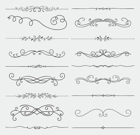 victorian: Elements Hand Drawn Rustic Doodle Design  Illustration