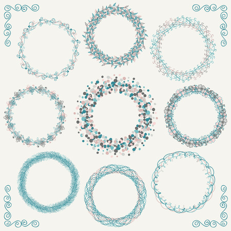 circle flower: Collection of Artistic Hand Sketched Rustic Decorative Doodle Round Borders and Frames