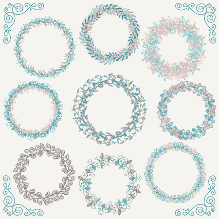 corona navidad: Collection of Artistic Hand Sketched Rustic Decorative Doodle Round Borders and Frames