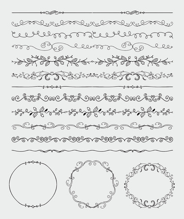 floral decoration: Collection of Black Artistic Rustic Hand Sketched Decorative Doodle Vintage Seamless Divider Borders