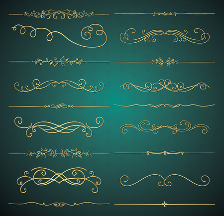Set of Hand Drawn Golden Luxury Royal Design Elements Ilustração