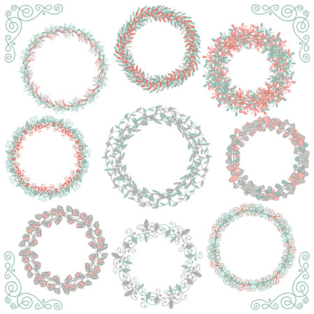 Collection of Colorful Artistic Hand Sketched Rustic Decorative Doodle Round Wreaths, Laurels, Borders and Frames. Floral Design Elements. Hand Drawn Vector Illustration.