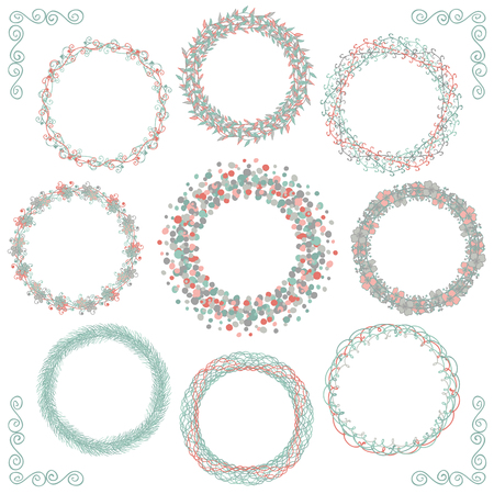 floral elements: Collection of Colorful Artistic Hand Sketched Rustic Decorative Doodle Round Wreaths, Laurels, Borders and Frames. Floral Design Elements. Hand Drawn Vector Illustration.