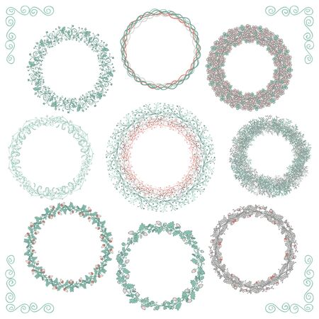 frame flower: Collection of Colorful Artistic Hand Sketched Rustic Decorative Doodle Round Wreaths, Laurels, Borders and Frames. Floral Design Elements. Hand Drawn Vector Illustration.