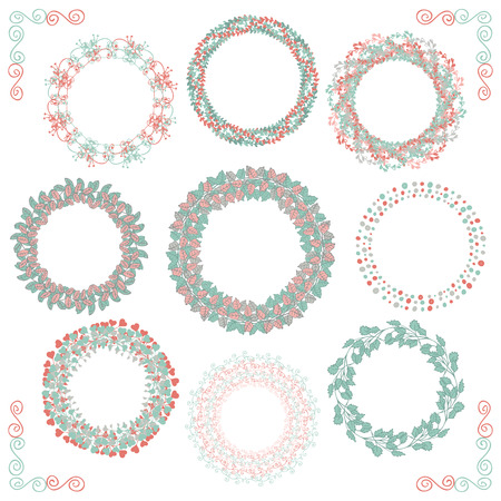 corner: Collection of Colorful Artistic Hand Sketched Rustic Decorative Doodle Round Wreaths, Laurels, Borders and Frames. Floral Design Elements. Hand Drawn Vector Illustration.