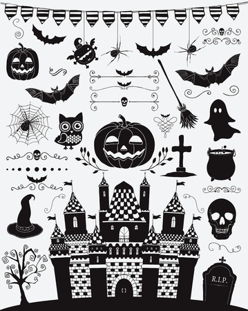 sketched icons: Hand Sketched Doodle Halloween Icons Set. Black Silhouettes, Cartoon Characters. Decorative Design Elements, Dividers, Swirls. Horror Symbols. Vector Illustration Illustration