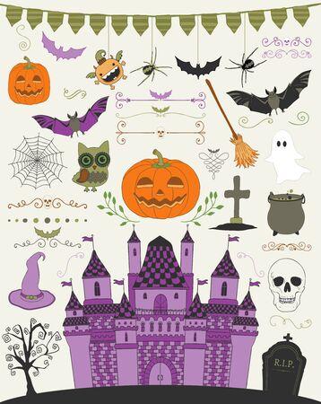 hubcap: Colorful Hand Sketched Doodle Halloween Icons Set. Cartoon Characters. Decorative Design Elements, Dividers, Swirls. Horror Symbols. Vector Illustration Illustration