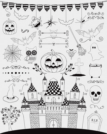 hubcap: Black Hand Sketched Doodle Halloween Icons Set. Cartoon Characters. Decorative Design Elements, Dividers, Swirls. Horror Symbols. Vector Illustration