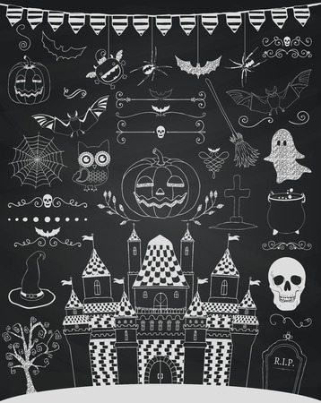 Hand Sketched Doodle Halloween Icons Set. Cartoon Characters. Decorative Design Elements, Dividers, Swirls. Horror Symbols on Chalkboard Texture. Chalk Drawing Vector Illustration.