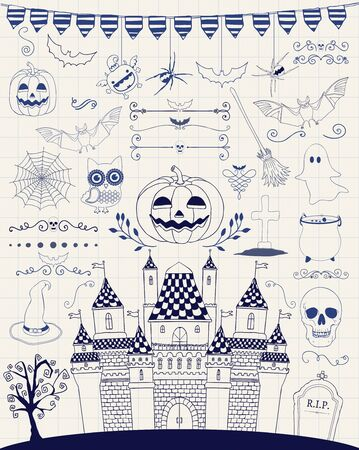 sketched icons: Hand Sketched Doodle Halloween Icons Set. Cartoon Characters. Decorative Design Elements, Dividers, Swirls. Horror Symbols on Notebook Paper Texture. Pen Drawing Vector Illustration.