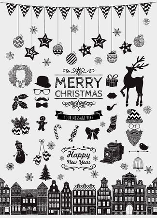 sketched icons: Set of Black Hand Sketched Christmas Doodle Icons, Shapes, Symbols. Xmas Vector Illustration. Text Lettering. Party Design Elements, Cartoons, Seamless Houses. Vectores