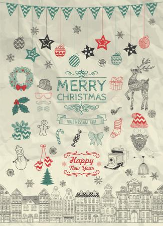 sketched icons: Conjunto de mano colorido bosquejado Navidad Doodle Iconos, Formas, S�mbolos en la textura de papel arrugado. Ilustraci�n de Navidad Vector. Las letras del texto. Partido decorativo Elementos de dise�o, Dibujos animados, Casas sin costura.