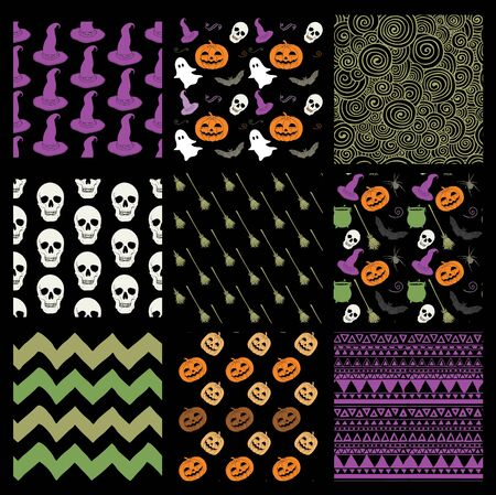 hubcap: Set of 9 Hand Sketched Doodle Halloween and Abstract Geometric Seamless Background Patterns. Colorful Silhouettes, Cartoon Characters on Dark BG. Pattern Swatches. Vector Illustration
