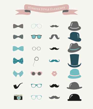 moño rosa: Colorido Moda Retro Hipster Icon Set Vintage. Ilustración del vector. Elementos decorativos del diseño. Sombreros, bigotes, gafas, pajaritas