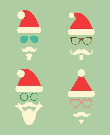 vidro: Papai Noel Moda Hipster ícones do estilo silhueta colorida. Natal Feriados da ilustração do vetor. Óculos bonito quadril Ilustração