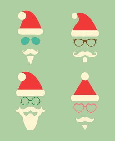 santa claus hats: Santa Claus Fashion Colorful Silhouette Hipster Style Icons. Christmas Holidays Vector Illustration. Cute Hip Glasses
