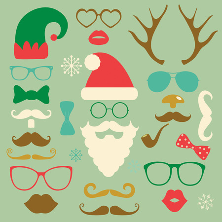 santa claus hats: Hipster Style Christmas Colorful Fashion Silhouettes Icon Set. Vector Illustration. New Year Illustration
