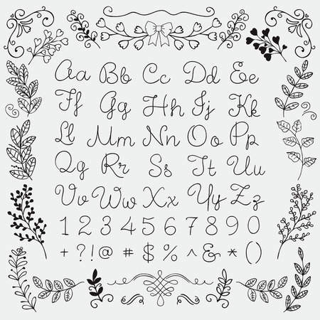 clip art numbers: Black Hand Drawn English Alphabet Letters, Numbers and Symbols on White Background. Education Set. Decorative Floral Design Elements. Doodle Sketched Vector Illustration