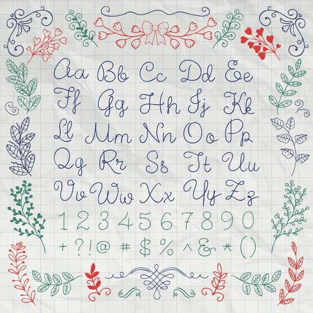 curly: Hand Drawn English Alphabet Letters, Numbers and Symbols on Crumpled Notebook Paper Texture. Education Set. Decorative Floral Design Elements. Pen Drawing Sketched Vector Illustration Illustration