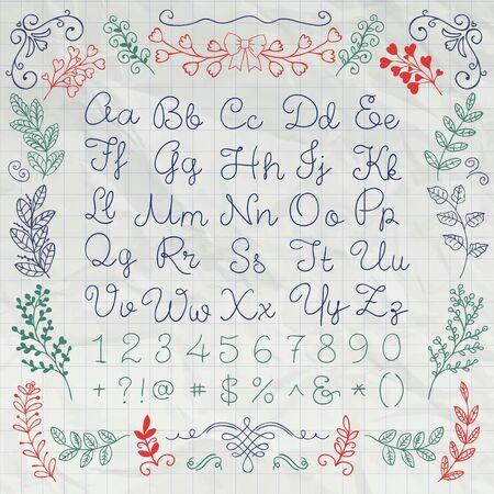 signo de admiracion: Hand Drawn Ingl�s letras del alfabeto, n�meros y s�mbolos en la textura del papel del cuaderno arrugado. Set Educaci�n. Decorativo elementos de dise�o floral. Ilustraci�n Pluma Dibujo bosquejado vectorial Vectores