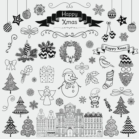 ali angelo: Set di Black Hand Drawn artistico di Natale Doodle Icone. Illustrazione di natale di vettore. Abbozzato decorativo Elementi di design, cartoni animati. Nuovo anno
