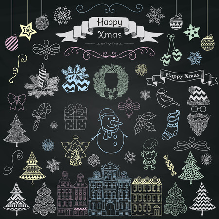 chalks: Set of Colorful Hand Drawn Artistic Christmas Doodle Icons on Chalk Board Menu Background Texture. Xmas Vector Illustration. Sketched Decorative Design Elements, Cartoons. New Year Illustration