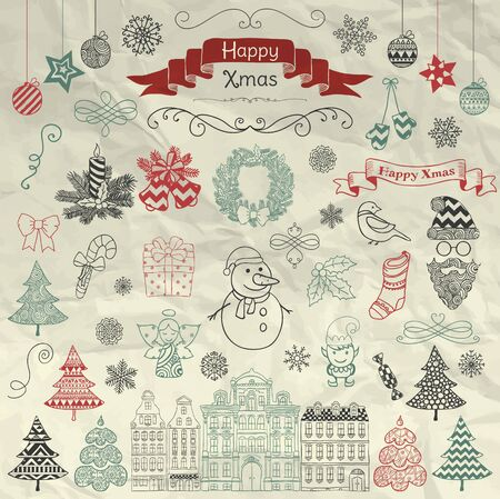 crumple: Set of Colorful Hand Drawn Artistic Christmas Doodle Icons on Crumple Paper Texture. Xmas Vector Illustration. Sketched Decorative Design Elements, Cartoons. New Year