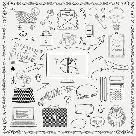 sketched icons: Business and Finance Vintage Black Outlined Hand Sketched Icons. Hand Drawn Vector Illustration. Retro Style. Decorative Design Elements, Speech Bubbles, Arrows, Infographic Graphic Elements, Swirls Vectores